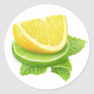 Lemon and lime slices round sticker