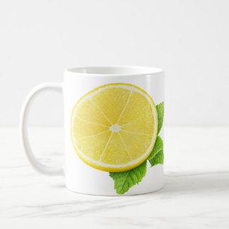 Lemon and mint basic white mug