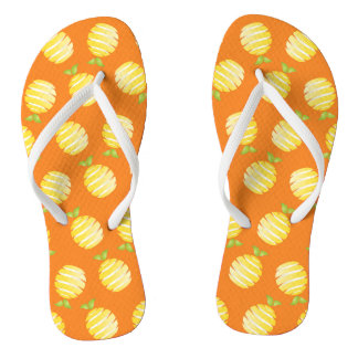 Lemon and orange flip flops