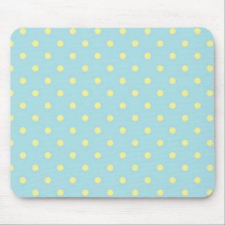 Lemon And Pale Blue Polka Dot Mouse Mat