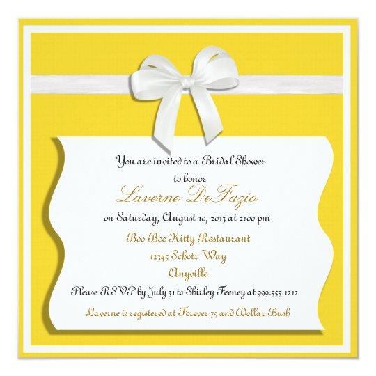 Lemon and White Bow Bridal Shower Invitation