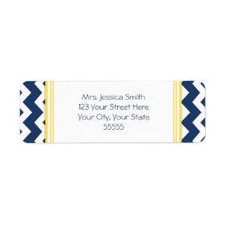 Lemon Blue Chevrons Custom Return Address Labels