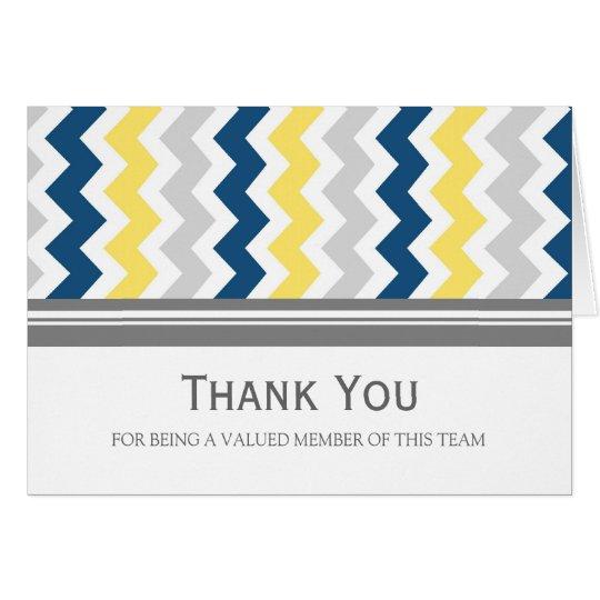Lemon Blue Grey Chevron Employee Appreciation Card