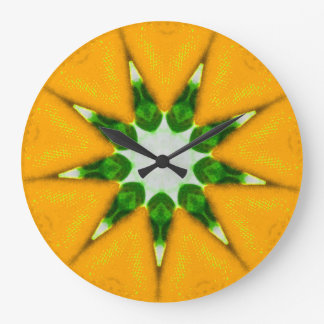 Lemon Burst Fractal Large Clock