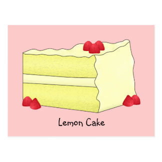 Lemon Cake Recipe Card Postcard