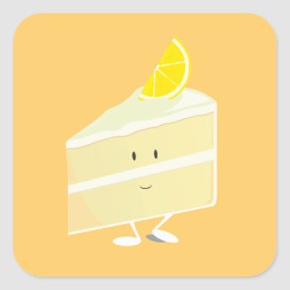 Lemon cake slice character square sticker