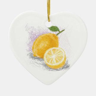 lemon ceramic heart decoration