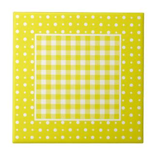 Lemon Ceramic Tile, Check Gingham and Polka Dots Tile
