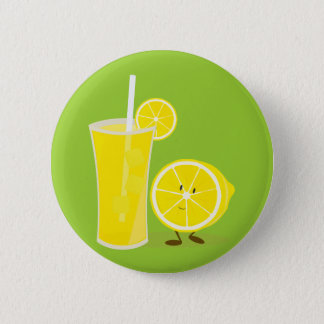 Lemon character standing next to lemonade 6 cm round badge