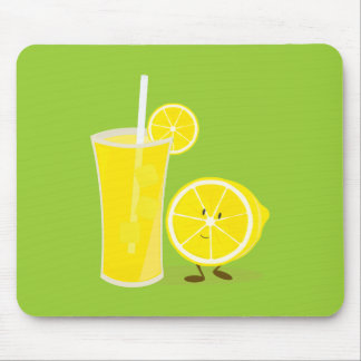 Lemon character standing next to lemonade mouse mat