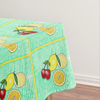 Lemon, Cherries, Oranges Lime Green Tablecloth