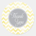Lemon Chevron Thank You Stickers, round