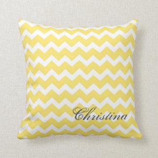 Lemon Chevrons Pattern Monogram Pillow