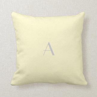 Lemon Chiffon Pastel Pillow w Silver Monogram