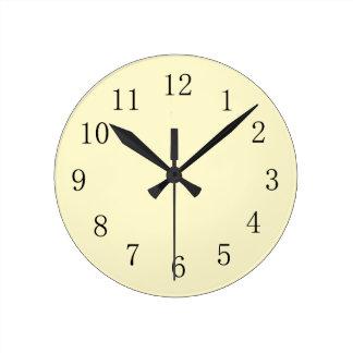 Lemon Chiffon Pastel Yellow Kitchen Wall Clock