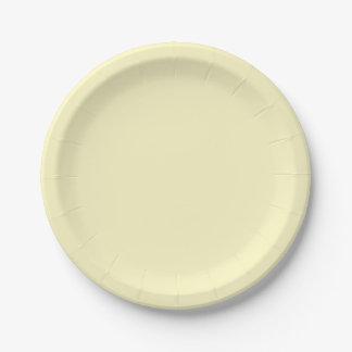 Lemon Chiffon Solid Color Paper Plate