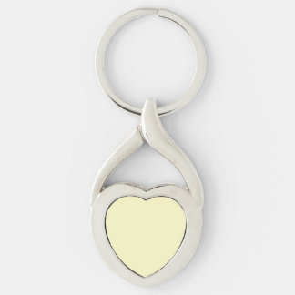 Lemon Chiffon Solid Color Silver-Colored Twisted Heart Key Ring