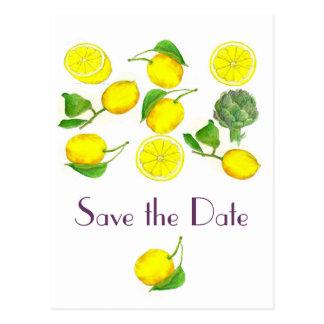 Lemon Citrus Fruit Watercolor Art Save the Date Postcard