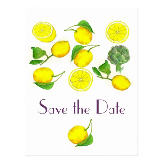 Lemon Citrus Fruit Watercolor Art Save the Date
