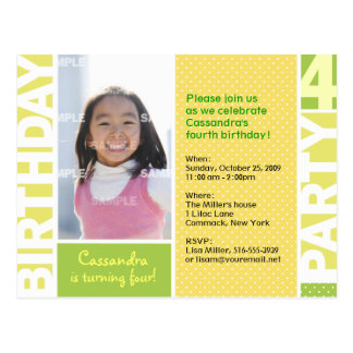 Lemon Citrus Polka Dot 4th Birthday Postcard