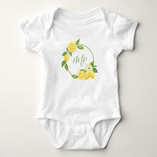Lemon Citrus Wreath Baby Shower Gift Monogram Baby Bodysuit