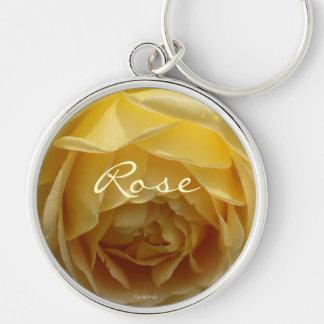 Lemon Cream Rose Silver-Colored Round Key Ring