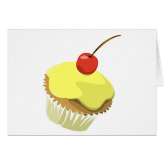 Lemon cupcake w/ Cherry cupcake template products Greeting Card