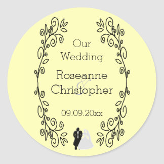 Lemon Damask Wedding Classic Round Sticker