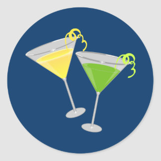 Lemon Drop and Green Apple Martini Classic Round Sticker