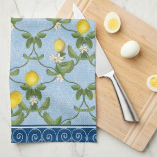 Lemon Espalier Leaf Blue French Country Floral Tea Towel