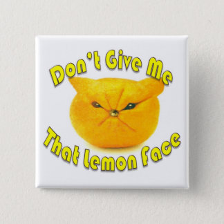 Lemon Face 15 Cm Square Badge