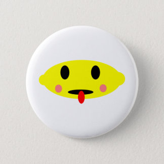 Lemon face 6 cm round badge