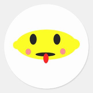 Lemon face round sticker