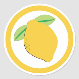 Lemon flavor circle sticker labels