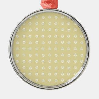 Lemon Flower Pattern Silver-Colored Round Decoration