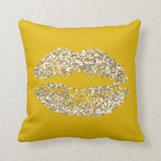 Lemon Foxier Gold Glitter Kiss Lips Makeup Sparkly Throw Pillow