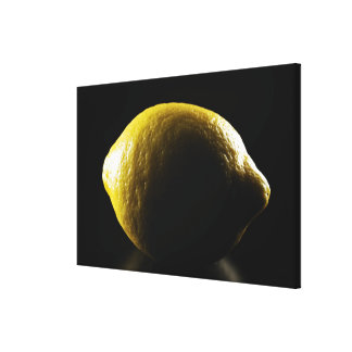 Lemon,Fruit,Black background Canvas Print