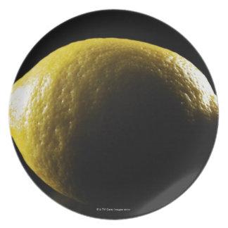 Lemon,Fruit,Black background Dinner Plate