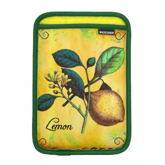 Lemon Fruit Flowers Leaves Vintage Botanical iPad Mini Sleeve