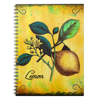 Lemon Fruit Flowers Leaves Vintage Botanical Notebook