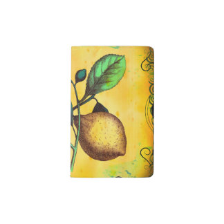 Lemon Fruit Flowers Leaves Vintage Botanical Pocket Moleskine Notebook