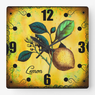 Lemon Fruit Flowers Leaves Vintage Botanical Square Wall Clock