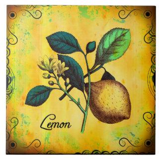 Lemon Fruit Flowers Leaves Vintage Botanical Tile