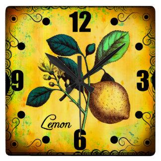 Lemon Fruit Flowers Leaves Vintage Botanical Wall Clocks