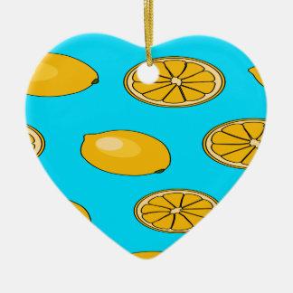 Lemon fruit pattern ceramic heart decoration
