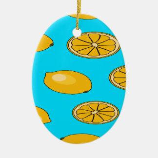Lemon fruit pattern ceramic oval decoration