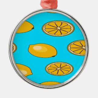 Lemon fruit pattern Silver-Colored round decoration