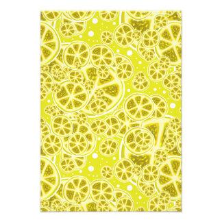 Lemon Fruit Slice Pattern Personalized Invitations
