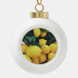Lemon fruit tree ceramic ball christmas ornament