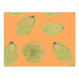 Lemon Fruits Sliced and Whole Lemons on Orange Postcard